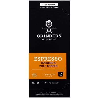 Grinders Coffee Espresso coffee full bodied capsule pack front