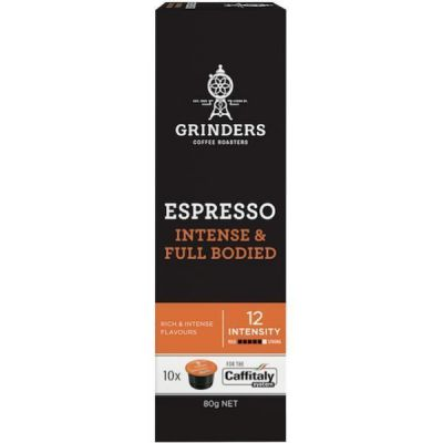 Grinders Coffee Espresso coffee full bodied capsule pack front 2