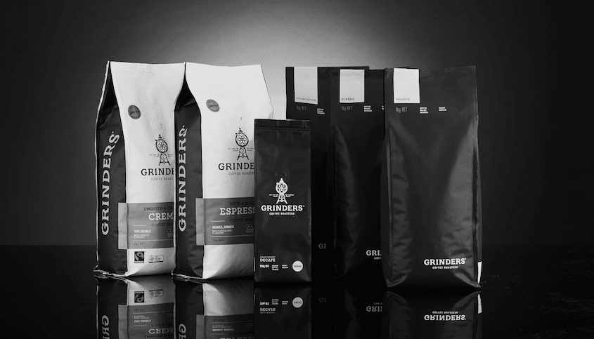 Grinders Coffee packs in black and white 11