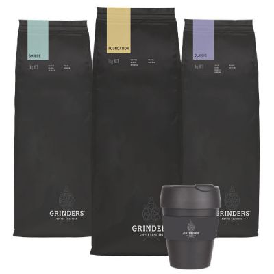 Grinders Coffee bean pack with keep cup