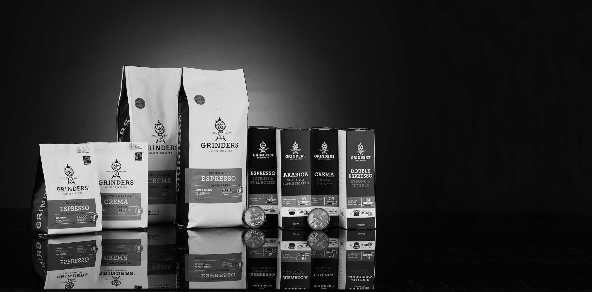 Grinders Coffee packs in black and white